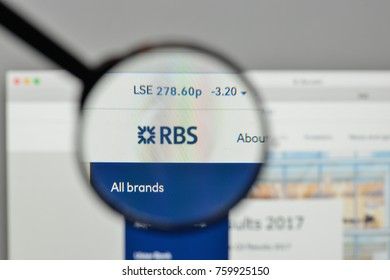 Milan, Italy - November 1, 2017: Royal Bank of Scotland Group logo on the website homepage.