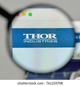 Milan, Italy - November 1, 2017: Thor Industries logo on the website homepage.