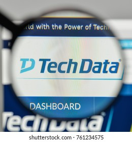 Milan, Italy - November 1, 2017: Tech Data logo on the website homepage.