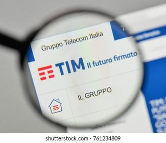Milan, Italy - November 1, 2017: Telecom Italia logo on the website homepage.