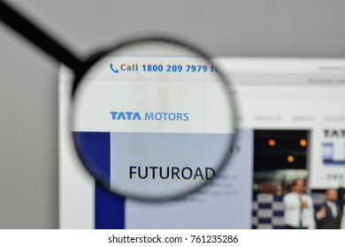 Milan, Italy - November 1, 2017: Tata Motors logo on the website homepage.