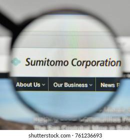Milan, Italy - November 1, 2017: Sumitomo Conglomerate logo on the website homepage.