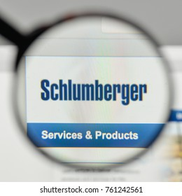 Milan, Italy - November 1, 2017: Schlumberger logo on the website homepage.