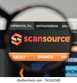 Milan, Italy - November 1, 2017: Scan Source logo on the website homepage.