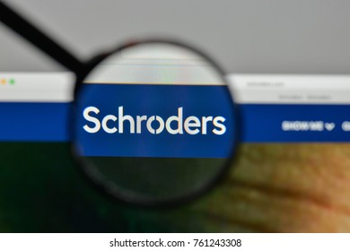 Milan, Italy - November 1, 2017: Schroders logo on the website homepage.