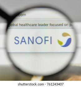 Milan, Italy - November 1, 2017: Sanofi logo on the website homepage.