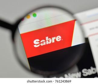 Milan, Italy - November 1, 2017: Sabre logo on the website homepage.