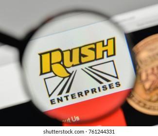 Milan, Italy - November 1, 2017: Rush Enterprises logo on the website homepage.