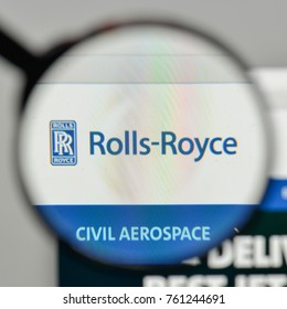 Milan, Italy - November 1, 2017: Rolls Royce Aerospaceand logo on the website homepage.