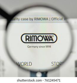 Milan, Italy - November 1, 2017: Rimowa logo on the website homepage.