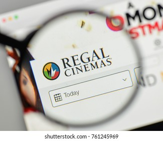 Milan, Italy - November 1, 2017: Regal Entertainment Group logo on the website homepage.