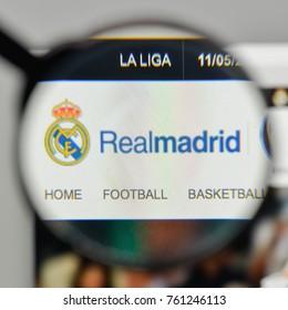 Milan, Italy - November 1, 2017: Real Madrid CF logo on the website homepage.