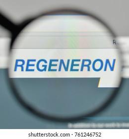 Milan, Italy - November 1, 2017: Regeneron Pharmaceuticals logo on the website homepage.