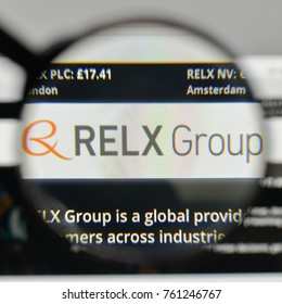 Milan, Italy - November 1, 2017: Reed Elsevier RELX Group logo on the website homepage.