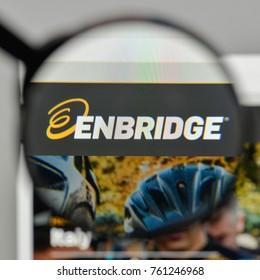 Milan, Italy - November 1, 2017: Enbridge energy logo on the website homepage.
