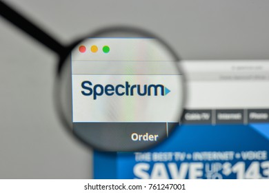 Milan, Italy - November 1, 2017: Charter Spectrum - Time Warner logo on the website homepage.