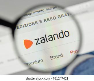 Milan, Italy - November 1, 2017: Zalando logo on the website homepage.