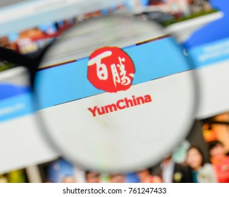 Milan, Italy - November 1, 2017: Yum China Holdings logo on the website homepage.