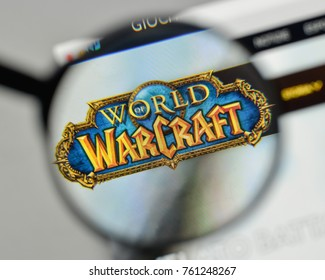 Milan, Italy - November 1, 2017: World of Warcraft logo on the website homepage.