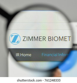 Milan, Italy - November 1, 2017: Zimmer Biomet Holdings logo on the website homepage.