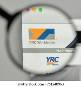 Milan, Italy - November 1, 2017: YRC Worldwide logo on the website homepage.