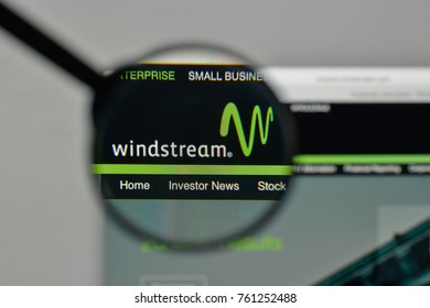 Milan, Italy - November 1, 2017: Windstream Holdings logo on the website homepage.