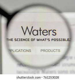 Milan, Italy - November 1, 2017: Waters logo on the website homepage.