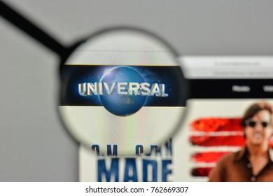 Milan, Italy - November 1, 2017: Universal logo on the website homepage.