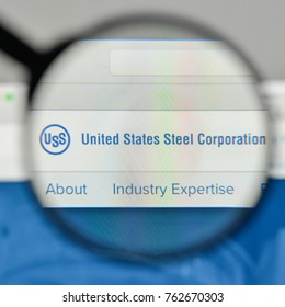 Milan, Italy - November 1, 2017: United States Steel logo on the website homepage.
