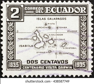MIlan, Italy - November 11, 2014: Map of Galapagos islands on postage stamp of 1935