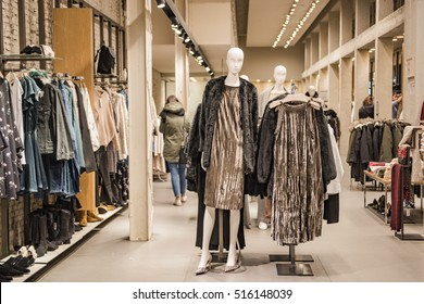 Milan, Italy - November 11, 2016: Luxury clothing shop in Milan fashion district, Italy.