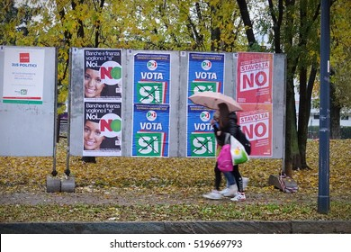 Milan, Italy - November 11, 2016: posters for Italian Constitutional Referendum, it is planned to be held in Italy on Sunday 4 December 2016.