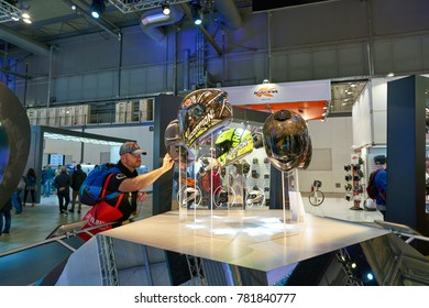 MILAN, ITALY - NOVEMBER 11, 2017: motorcycle helmets on display at the EICMA 2017 - 75th International Motorcycle Exhibition.