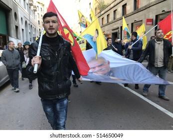 MILAN, ITALY - November 12, 2016: Kurdish activists protest against Turkish president Erdogan
