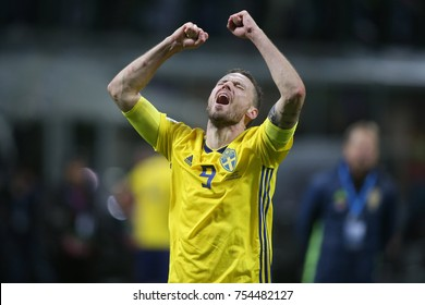 Milan, Italy - November 13: Sweden players celebrates at end of  the FIFA 2018 World Cup Qualifier Play-off  match Italy vs Sweden at Meazza Stadium on November 13, 2017 in Milan, Italy.