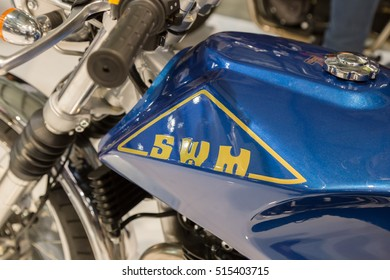 MILAN, ITALY - NOVEMBER 13: SWM motorbike on display at EICMA, international motorcycle exhibition on NOVEMBER 13, 2016 in Milan.