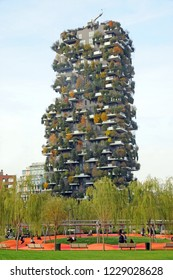 Milan , Italy november 13,2018 - Bosco Verticale (Vertical Fores and the new park  Designed by Stefano Boeri, sustainable architecture in Porta Nuova district, in Milano  skyscreper , downtown