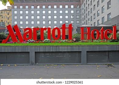 Milan , Italy november 13,2018 - Logo Marriott Hotel famous in the world