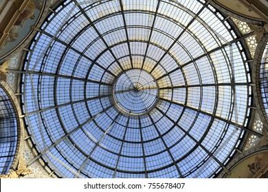 Milan, Italy - november 14, 2017: Glass doom of the Galleria Vittorio Emanuele II in central Milan. This gallery is one of the world's oldest shopping malls and tourist attraction of Milan