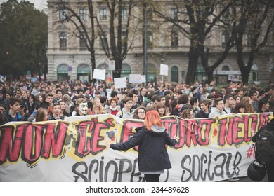 MILAN, ITALY - NOVEMBER 14: Student demonstration held in Milan November 14, 2014. Students took streets to protest against Milan expo to be held in 2015, event important worldwide.