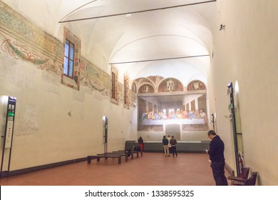 Milan, Italy - November 15, 2016: refectory of church Santa Maria Delle Grazie in Milan in Italy, hosting The Last Supper masterpiece of late 1490s, after restoration. right side point of view.