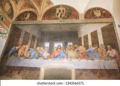 Milan, Italy - November 15, 2016: Last Supper painting. Jesus and 12 apostles. Bartholomew, young James, Andrew, Judas Iscariot, Peter, John, Thomas, James, Philip, Matthew, Thaddaeus, Simon.