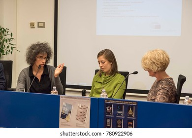 Milan, Italy november 16 2017: Edina Szvoren, hungarian writer, tells about her last book translated in italian, at the book launch during Bookcity, cultural event on literature