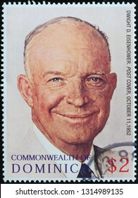 Milan, Italy – November 17, 2016: Portrait of President Eisenhower by Norman Rockwell on stamp