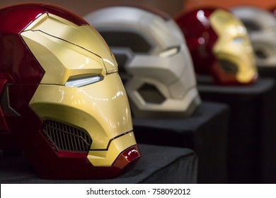 MILAN, ITALY - NOVEMBER 17: Iron Man mask on display at G come giocare, trade fair dedicated to games, toys and children on NOVEMBER 17, 2017 in Milan.