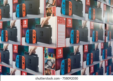 MILAN, ITALY - NOVEMBER 17: Nintendo Switch boxes on display at G come giocare, trade fair dedicated to games, toys and children on NOVEMBER 17, 2017 in Milan.