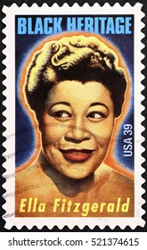 Milan, Italy - November 18, 2016: Ella Fitzgerald on american postage stamp