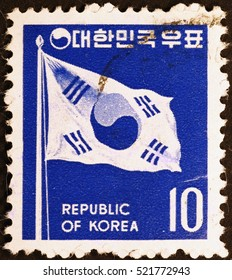 Milan, Italy - November 18, 2016: Republic of Korea flag on postage stamp