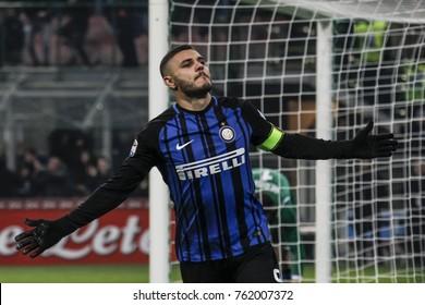 Milan, Italy. November 19, 2017. Campionato Italiano di SerieA, Inter-Atalanta 2-0.  Mauro Icardi, Inter, celebrating the goal.