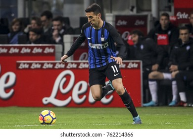 Milan, Italy. November 19, 2017. Campionato Italiano di SerieA, Inter-Atalanta 2-0. Matias Vecino, Inter.